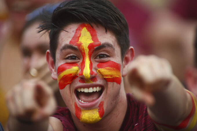 Florida State freshman Danny DiSalvo gets fired up before the start of an NCAA college football game against Jacksonville State Saturday, Sept. 11, 2021, in Tallahassee, Fla. (AP Photo/Phil Sears)