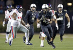 Vanderbilt running back Khari Blasingame (23) runs the ball against Mississippi in the first half of an NCAA college football game Saturday, Nov. 17, 2018, in Nashville, Tenn. (AP Photo/Mark Humphrey)