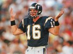 """FILE - In this Aug. 8, 1998, file photo, San Diego Chargers rookie quarterback Ryan Leaf, the No. 2 selection in the NFL draft, tries to figure out what play is being called from the bench during the first quarter against the San Francisco 49ers in an NFL football game in San Diego. Leaf labels himself as """"the biggest bust in draft history"""". The second pick in the 1998 draft after a stellar career at Washington State, Leaf played in only 21 games with the Chargers over three seasons and threw 33 interceptions with only 13 touchdowns while going 4-14 as a starter. (AP Photo/Kent Horner, File)"""
