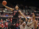 Utah guard Sedrick Barefield (2) shoots during the first half of the team's NCAA college basketball game against Stanford in Stanford, Calif., Thursday, Jan. 24, 2019. (AP Photo/Jeff Chiu)
