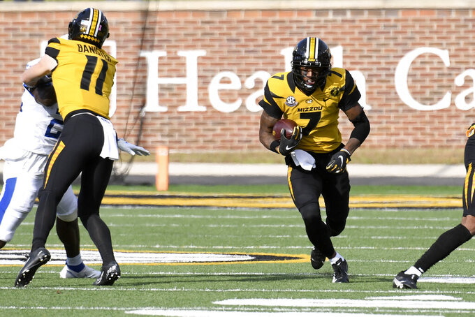 Missouri wide receiver Damon Hazelton runs with the ball after catching a pass for an 8-yard gain during the first half of an NCAA college football game against Kentucky Saturday, Oct. 24, 2020, in Columbia, Mo. (AP Photo/L.G. Patterson)