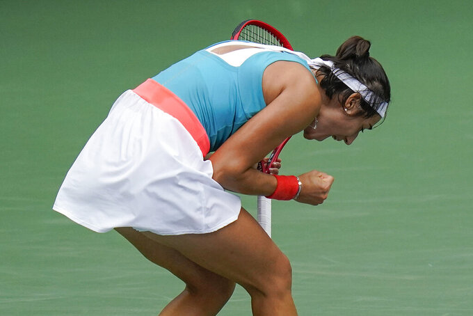 Caroline Garcia, of France, reacts after defeating Karolina Pliskova, of the Czech Republic, during the second round of the US Open tennis championships, Wednesday, Sept. 2, 2020, in New York. (AP Photo/Seth Wenig)