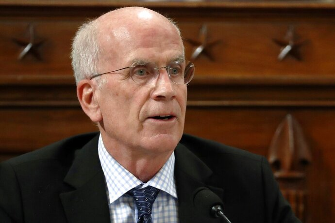 FILE — In this Nov. 19, 2019, file photo, Rep. Peter Welch, D-Vt., ask questions during a House Intelligence Committee hearing on Capitol Hill in Washington. Welch is seeking re-election in Vermont's Aug. 11, 2020, Democratic primary. (AP Photo/Jacquelyn Martin, Pool, File)