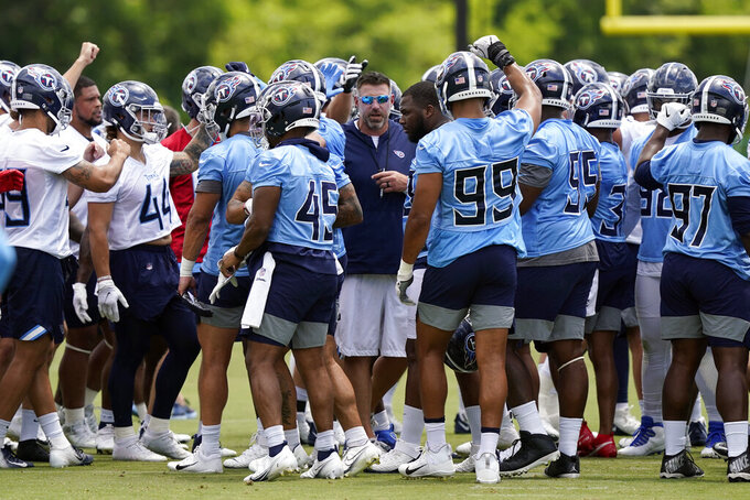 Tennessee Titans head coach Mike Vrabel joins players during an NFL football minicamp Wednesday, June 16, 2021, in Nashville, Tenn. (AP Photo/Mark Humphrey, Pool)