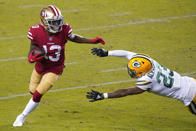 San Francisco 49ers wide receiver Richie James (13) runs against Green Bay Packers cornerback Jaire Alexander (23) during the first half of an NFL football game in Santa Clara, Calif., Thursday, Nov. 5, 2020. (AP Photo/Tony Avelar)