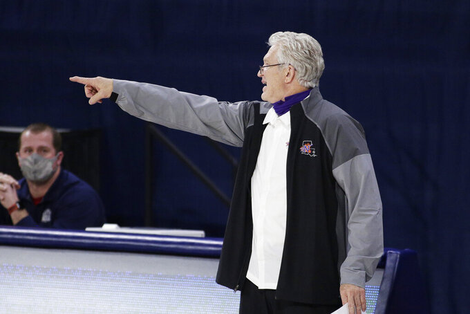 Northwestern State coach Mike McConathy gestures to his players during the second half of an NCAA college basketball game against Gonzaga in Spokane, Wash., Tuesday, Dec. 22, 2020. Gonzaga won 95-78. (AP Photo/Young Kwak)