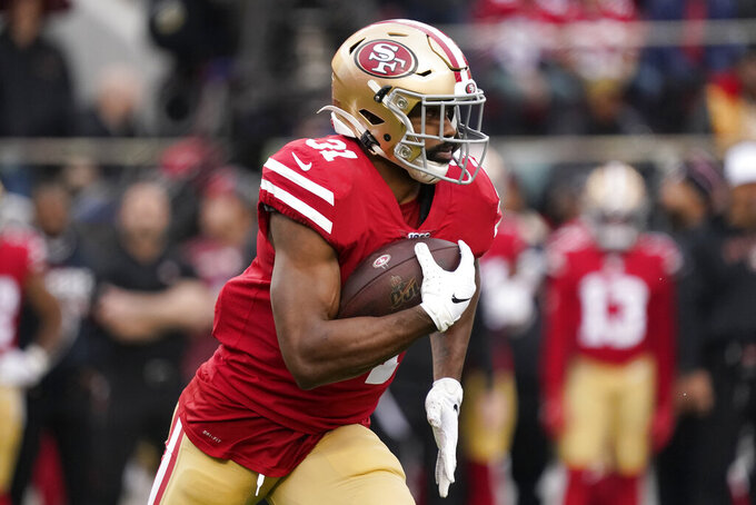 San Francisco 49ers running back Raheem Mostert (31) runs against the Green Bay Packers during the first half of the NFL NFC Championship football game Sunday, Jan. 19, 2020, in Santa Clara, Calif. (AP Photo/Tony Avelar)