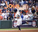 Houston Astros' Jose Altuve rounds the bases after hitting a solo home run off New York Yankees starting pitcher Masahiro Tanaka during the fourth inning of a baseball game, Monday, April 8, 2019, in Houston. (AP Photo/Eric Christian Smith)