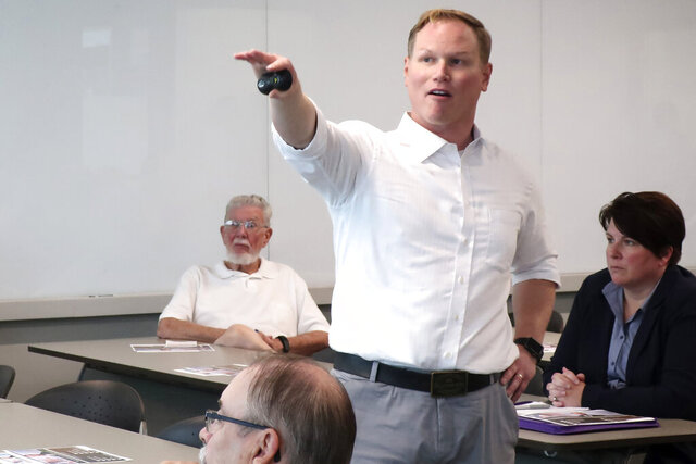 FILE - In this Aug. 26, 2019 file photo, U.S. Rep. Steve Watkins, R-Kan., makes a point during a town hall meeting in Topeka, Kan. Watkins, a Kansas congressman facing felony voting fraud charges told a detective he didn't vote in a 2019 Topeka city council election, according to an affidavit in support of criminal charges. Freshman Rep. Watkins is facing three felony charges. (AP Photo/John Hanna File)