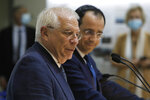 The European Union's Foreign Policy Chief Josep Borrell, left, and Cyprus' Foreign Minister Nikos Christodoulides speak during a joint news conference at the Cypriot foreign ministry on Thursday, June 25, 2020. Borrell is in Cyprus to discuss developments in the EU's southeastern-most corner that borders a tumultuous region. (AP Photo/Petros Karadjias)