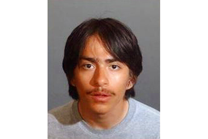 This undated photo provided by the Los Angeles County Sheriff's Office shows Eddie Alvirez, 18, as authorities seek the public's help in finding him. His 13-year-old sister was shot and killed in her Lancaster, Calif., home Tuesday, Aug. 13, 2019, and deputies are searching for Alvirez, who they say is a suspect, authorities said. Alvirez is believed to have run off with the handgun after the incident occurred around 5:45 p.m.