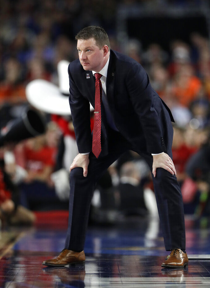 Texas Tech head coach Chris Beard watches from the bench during the first half against Michigan State in the semifinals of the Final Four NCAA college basketball tournament, Saturday, April 6, 2019, in Minneapolis. (AP Photo/Jeff Roberson)