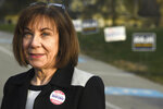 Democrat Pam Iovino talks to the media after voting at the Mt. Lebanon United Lutheran Church for the 37th Pennsylvania Senatorial District Special Election in Mount Lebanon, Pa., Tuesday, April 2, 2019. (Darrell Sapp/Pittsburgh Post-Gazette via AP)