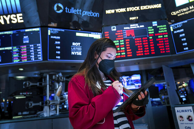 FILE - In this Friday, Jan. 15, 2021, file photo provided by the New York Stock Exchange, trader Ashley Lara works on the floor, in New York. CEOs have begun telling shareholders how much profit their companies made at the end of 2020, and expectations are for a miserable fourth-straight quarter of declines for S&P 500 companies. (Courtney Crow/New York Stock Exchange via AP, File)