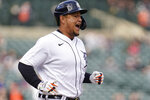 Detroit Tigers' Miguel Cabrera reacts hitting a one-run single against the Minnesota Twins in the seventh inning of a baseball game in Detroit, Saturday, May 8, 2021. (AP Photo/Paul Sancya)