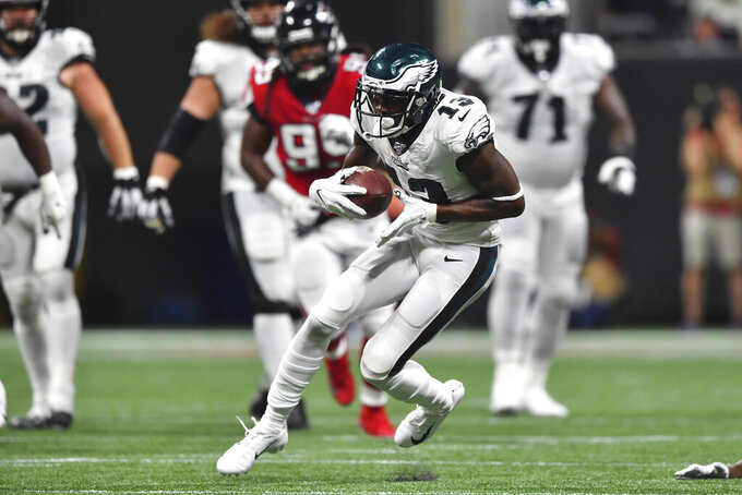 Philadelphia Eagles wide receiver Nelson Agholor (13) runs against the Atlanta Falcons during the second half of an NFL football game, Sunday, Sept. 15, 2019, in Atlanta. (AP Photo/John Amis)