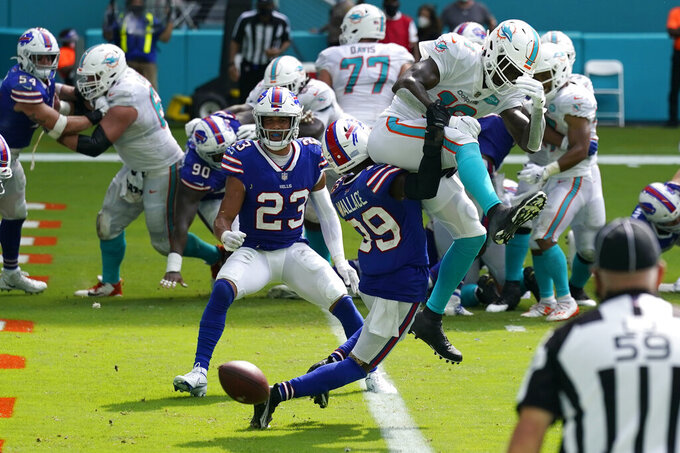 Buffalo Bills cornerback Levi Wallace (39) stops Miami Dolphins wide receiver Preston Williams at the goal line on 4th down and one in the third quarter during an NFL football game, Sunday, Sept. 20, 2020, in Miami Gardens, Fla. (AP Photo/Lynne Sladky)