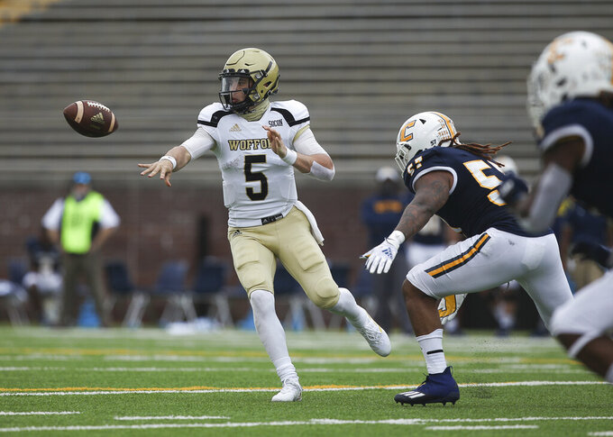 Wofford Terriers quarterback Jimmy Weirick (5) pitches the football during the football game between UTC and the Wofford Terriers at Finley Stadium on Saturday, Feb. 27, 2021 in Chattanooga, Tenn.(Troy Stolt/Chattanooga Times Free Press via AP)