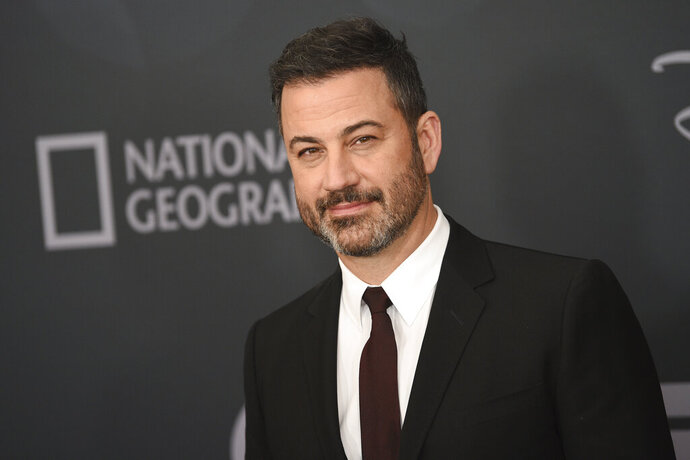 FILE - In this Tuesday, May 14, 2019, file photo, Jimmy Kimmel attends the Walt Disney Television 2019 upfront at Tavern on The Green in New York. Kimmel's network, ABC, has been ordered on  Thursday, Aug. 15, 2019, to pay a $395,000 fine for misuse of the the sound of the emergency alert system that is used to warn people of actual emergencies, such as floods and fire. ABC is one of four media organizations fined for using the sound on their broadcasts. (Photo by Evan Agostini/Invision/AP, File)