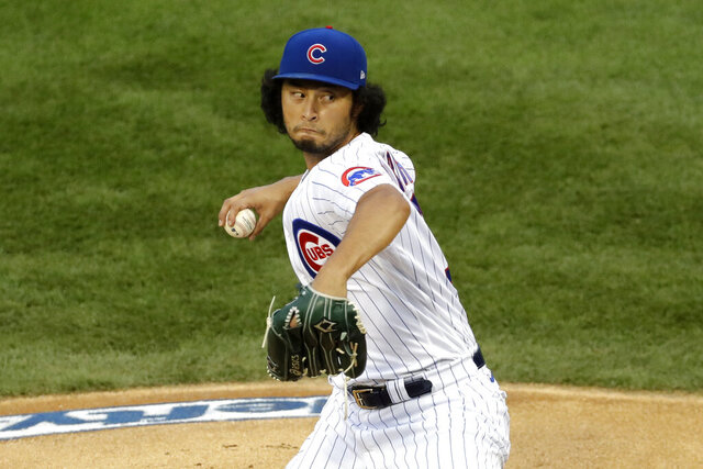 Chicago Cubs starting pitcher Yu Darvish, of Japan, throws against the Pittsburgh Pirates during the first inning of a baseball game in Chicago, Friday, July 31, 2020. (AP Photo/Nam Y. Huh)