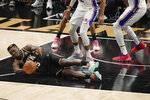 Atlanta Hawks' Clint Capela (15) dives for the ball against the Philadelphia 76ers during the first half of Game 4 of a second-round NBA basketball playoff series on Monday, June 14, 2021, in Atlanta. (AP Photo/Brynn Anderson)