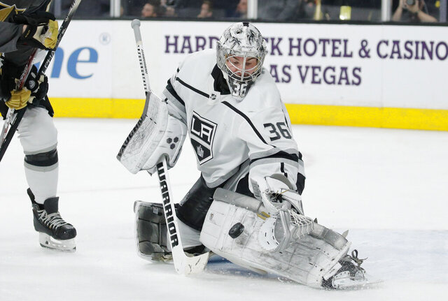Los Angeles Kings goaltender Jack Campbell (36) blocks a shot by the Vegas Golden Knights during the second period of an NHL hockey game Thursday, Jan. 9, 2020, in Las Vegas. (AP Photo/John Locher)