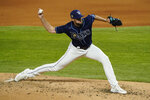 Tampa Bay Rays starting pitcher Ryan Thompson throws against the Los Angeles Dodgers during the fourth inning in Game 4 of the baseball World Series Saturday, Oct. 24, 2020, in Arlington, Texas. (AP Photo/Tony Gutierrez)