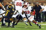 Southeast Missouri State running back Zion Custis, right, runs around Missouri's Ronnell Perkins, left, during the second quarter of an NCAA college football game Saturday, Sept. 14, 2019, in Columbia, Mo. (AP Photo/L.G. Patterson)