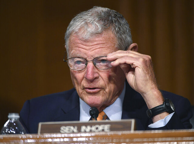 FILE - In this Wednesday, May 20, 2020, file photo, U.S. Sen. James Inhofe, R-Okla., listens during a Senate Environment and Public Works Committee oversight hearing to examine the Environmental Protection Agency, on Capitol Hill in Washington. Several Native American groups are warning Inhofe that legislation being discussed in response to a recent U.S. Supreme Court decision could undermine tribal sovereignty. (Kevin Dietsch/Pool Photo via AP, File)