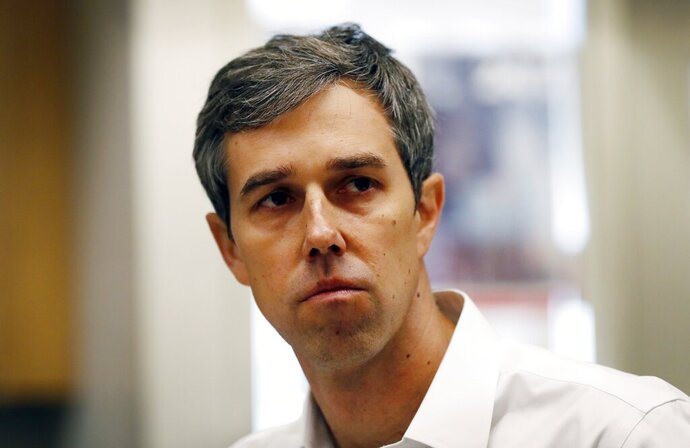 Former Texas congressman and Democratic presidential candidate Beto O'Rourke during a stop at the Michigan Regional Council of Carpenters, Monday, March 18, 2019 in Ferndale, Mich. (AP Photo/Carlos Osorio)