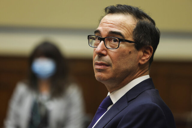 Treasury Secretary Steven Mnuchin testifies before the House Select Subcommittee on the Coronavirus Crisis, during a hybrid hearing, Tuesday, Sept. 1, 2020, on Capitol Hill in Washington. (Graeme Jennings/Pool via AP)