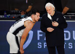 San Antonio Spurs head coach Gregg Popovich, right, talks with Drew Eubanks during the second quarter of an NBA basketball game against the Utah Jazz, Thursday, Aug. 13, 2020, in Lake Buena Vista, Fla. (Kevin C. Cox/Pool Photo via AP)