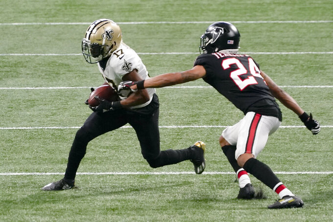 New Orleans Saints wide receiver Emmanuel Sanders (17) gets by Atlanta Falcons cornerback A.J. Terrell (24) during the first half of an NFL football game, Sunday, Dec. 6, 2020, in Atlanta. (AP Photo/Brynn Anderson)