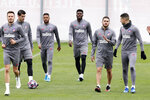 Atletico Madrid players attend a training session in Majadahonda, outskirts of Madrid, Spain, Monday, Feb. 17, 2020. Atletico Madrid will play its Champions League soccer match against Liverpool next Tuesday. (AP Photo/Manu Fernandez)