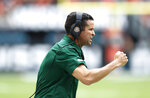 Miami head coach Manny Diaz reacts on the sideline during the first half of an NCAA college football game against Central Michigan, Saturday, Sept. 21, 2019, in Miami Gardens, Fla. (AP Photo/Brynn Anderson)