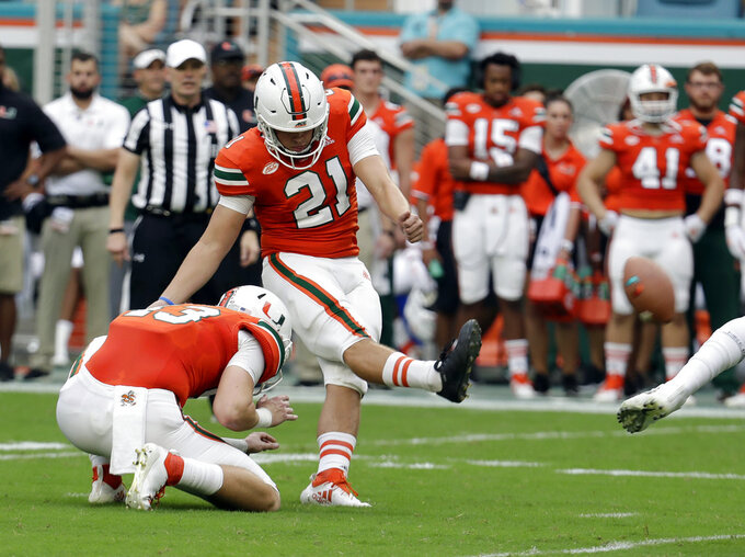 Miami placekicker Bubba Baxa (21) kicks a field goal during the first half of an NCAA college football game against Pittsburgh, Saturday, Nov. 24, 2018, in Miami Gardens, Fla. (AP Photo/Lynne Sladky)