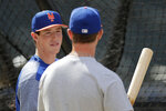 New York Mets 2019 first round pick Brett Baty, a third baseman from Lake Travis High School in Austin, Texas, who was drafted 12th overall, talks to first baseman Pete Alonso before taking batting practice prior to a baseball game against the St. Louis Cardinals, Saturday, June 15, 2019, in New York. (AP Photo/Julio Cortez)