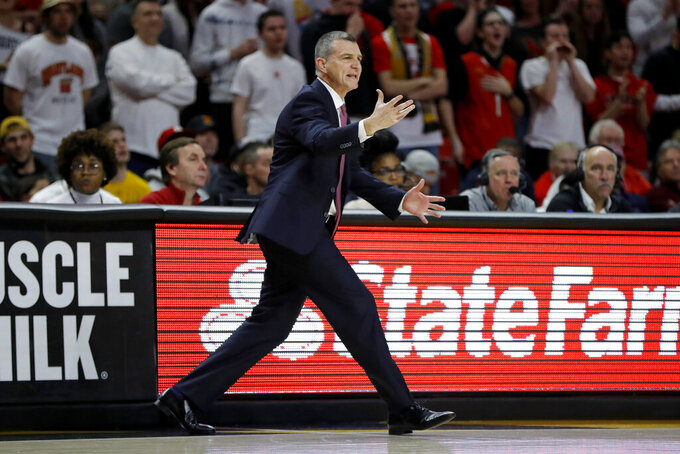 Maryland head coach Mark Turgeon reacts during the first half of an NCAA college basketball game against Northwestern, Tuesday, Feb. 18, 2020, in College Park, Md. (AP Photo/Julio Cortez)