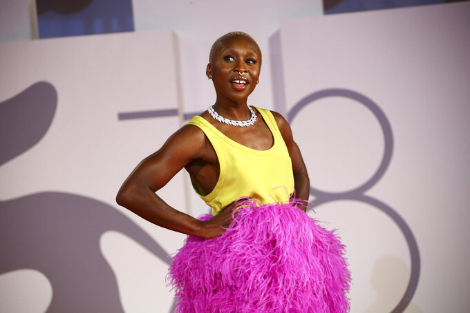 Cynthia Erivo poses for photographers upon arrival at the premiere of the film ' Last Night in Soho' during the 78th edition of the Venice Film Festival in Venice, Italy, Saturday, Sep, 4, 2021. (Photo by Joel C Ryan/Invision/AP)