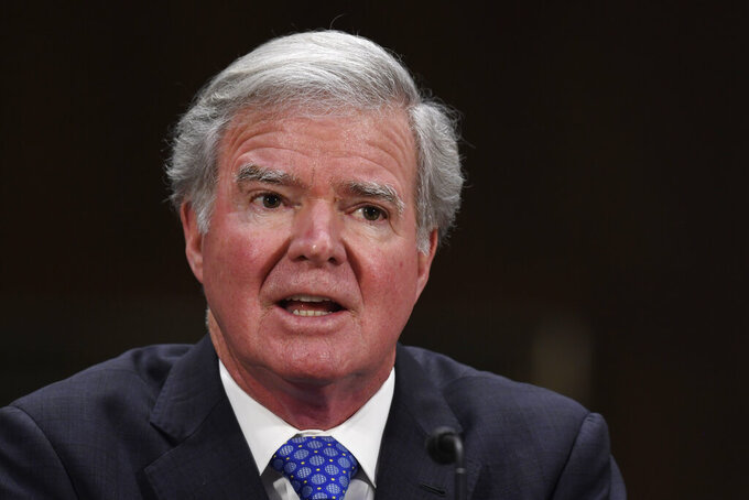 National Collegiate Athletic Association President Mark Emmert testifies during a Senate Commerce subcommittee hearing on Capitol Hill in Washington, Tuesday, Feb. 11, 2020, on intercollegiate athlete compensation. (AP Photo/Susan Walsh)