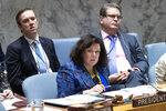 British Ambassador to the United Nations Karen Elizabeth Pierce listens to speakers during a meeting on the Middle East, including the Palestinian question, Wednesday, Nov. 20, 2019 at United Nations headquarters. (AP Photo/Mary Altaffer)
