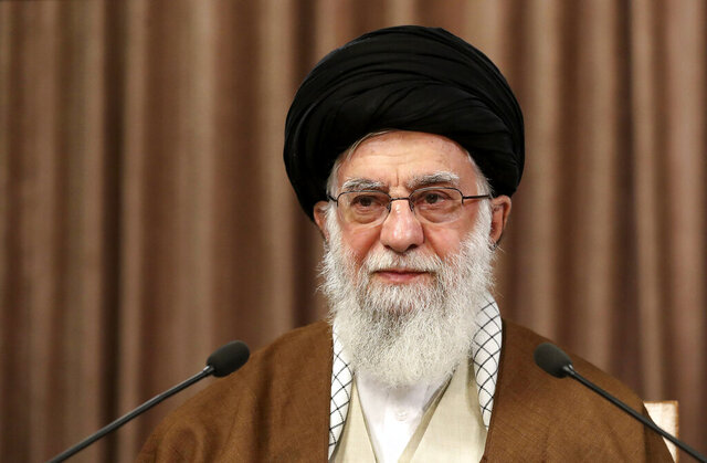 "In this photo released by the official website of the office of the Iranian supreme leader, Supreme Leader Ayatollah Ali Khamenei addresses in a televised speech marking the annual Quds, or Jerusalem Day, in Tehran, Iran, Friday, May 22, 2020. Khamenei on Friday called Israel a ""cancerous tumor"" that ""will undoubtedly be uprooted and destroyed"" in an annual speech in support of the Palestinians, renewing threats against Iran's Mideast enemy. (Office of the Iranian Supreme Leader via AP)"