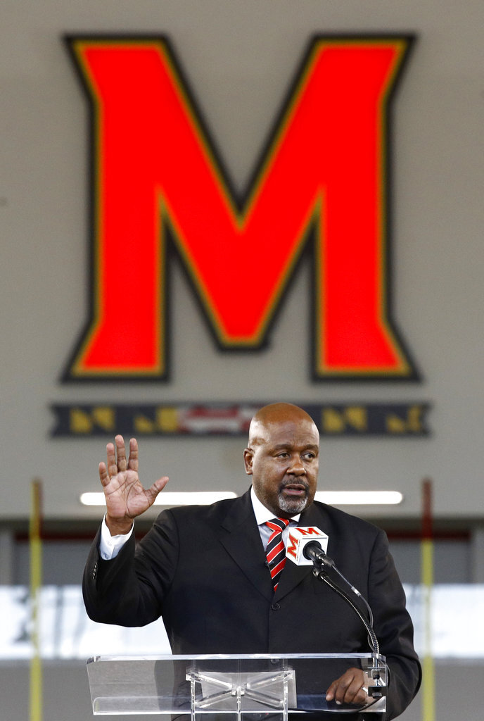 Maryland's New  head football coach Mike Locksley speaks at an NCAA college football news conference, Thursday, Dec. 6, 2018, in College Park, Md. Locksley, Alabama's offensive coordinator, will take over at Maryland after the most tumultuous year in the program's recent history. (AP Photo/Patrick Semansky)