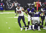Houston Texans defensive end J.J. Watt (99) celebrates after sacking Baltimore Ravens quarterback Lamar Jackson during the first half of an NFL football game Sunday, Sept. 20, 2020, in Houston. (AP Photo/Eric Christian Smith)