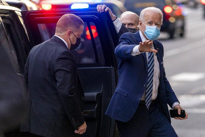 President-elect Joe Biden arrives at The Queen theater, Thursday, Dec. 3, 2020, in Wilmington, Del. (AP Photo/Andrew Harnik)