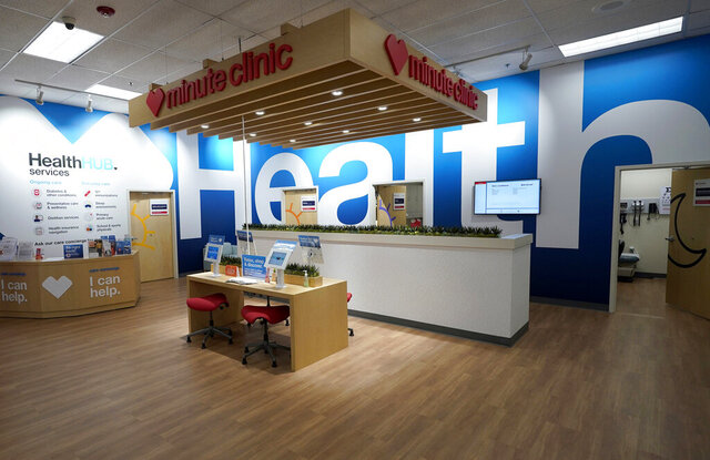 FILE - In this May 30, 2019, file photo, the new HealthHUB is shown inside a CVS store in Spring, Texas. The federal government is joining a legal fight against CVS Health that accuses its troubled Omnicare business of routinely filling prescriptions that had expired or run out of refills. (AP Photo/David J. Phillip, File)