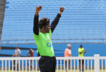 Carolina Panthers Cam Newton celebrates an out during his charity kickball tournament in Charlotte, N.C., Friday, May 10, 2019. Both Panthers QBs will be action Friday. Meanwhile rookie draft pick QB Will Grier was throwing footballs for the first time as Carolina opens rookie minicamp on the team's practice fields outside the stadium. (AP Photo/Chuck Burton)