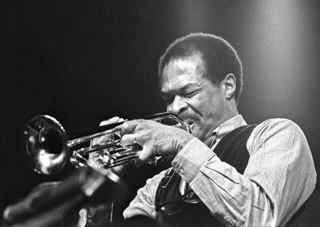 In this 1986 photo, provided by Mark Miller, jazz trumpeter Woody Shaw performs at the Festival International de Jazz de Montrèal. A forgotten studio recording of the late musician Shaw was released Sept. 11, 2020, on digital, as part of the latest effort to preserve jazz history. Vancouver, Canada-based Cellar Music Group's imprint Reel to Real and New York distributor La Reserve Records made available