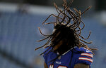 Buffalo Bills wide receiver Kelvin Benjamin dances while warming up prior to an NFL football game against the Carolina Panthers, Thursday, Aug. 9, 2018, in Orchard Park, N.Y. (AP Photo/Julio Cortez)