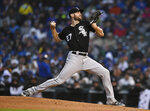 Chicago White Sox starter Lucas Giolito delivers a pitch during the first inning of the team's baseball game against the Chicago Cubs on Wednesday, June 19, 2019, at Wrigley Field in Chicago. (AP Photo/Paul Beaty)